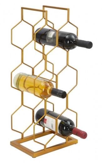 Suport metalic pentru sticle Rack 8 Auriu, l23,5xA16,5xH59 cm