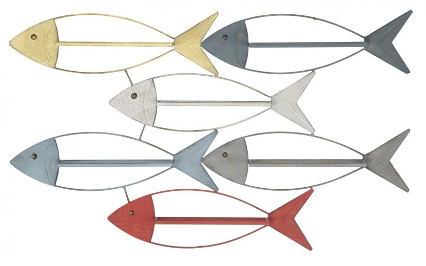 Suport metalic suspendat pentru sticle Fish 6 Multicolor, l103,5xA8xH62 cm