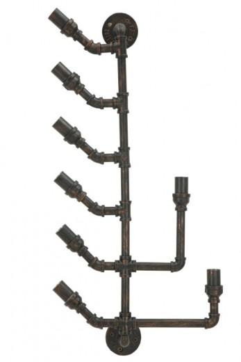 Suport metalic suspendat pentru sticle Manhattan 8 Negru / Cupru, l40xA15xH85 cm
