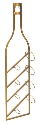 Suport metalic suspendat pentru sticle Rack 4 Auriu, l25xA10xH87 cm