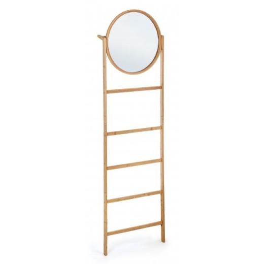 Suport pentru baie din bambus, cu oglinda Audry Natural, l49xA10xH170 cm
