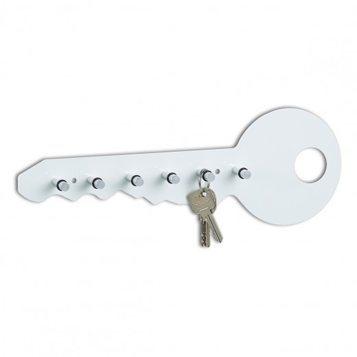 Suport pentru chei Colors, Metal, l35xA4xH12 cm-Alb