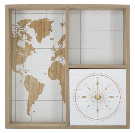 Suport pentru chei din MDF, cu sertar World Square Natural / Alb, l30xA9xH30 cm