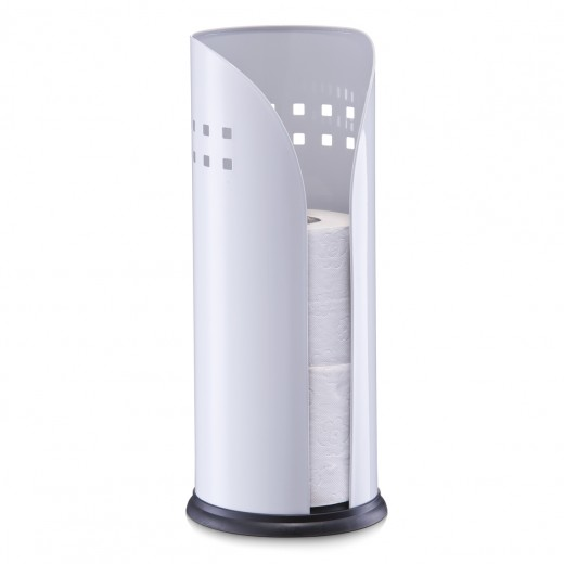 Suport pentru depozitare hartie igienica, Metal White, Ø 14,5xH34,5 cm