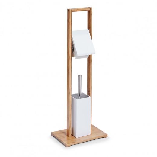 Suport pentru hartie igienica si perie de toaleta, Bamboo MDF White, l30xA21xH82 cm