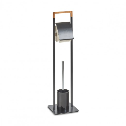 Suport pentru hartie igienica si perie de toaleta, Bamboo Metal Black, l19xA19xH74,5 cm