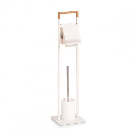 Suport pentru hartie igienica si perie de toaleta, Bamboo Metal White, l19xA19xH74,5 cm