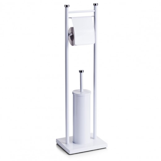 Suport pentru hartie igienica si perie de toaleta, Metal Alb, l22xA18xH76 cm