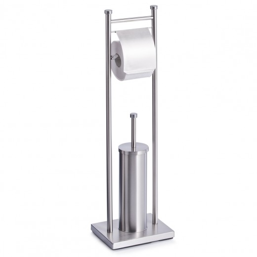 Suport pentru hartie igienica si perie de toaleta, Otel inoxidabil, l22xA18xH76 cm