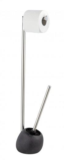 Suport pentru hartie igienica si perie de toaleta, Polaris Jet Antracit, l16xA14,5xH72,5 cm