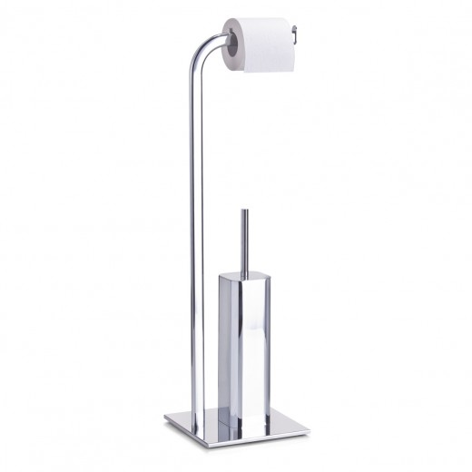 Suport pentru hartie igienica si perie de toaleta, Steel Metal cromat, l20xA20xH72 cm