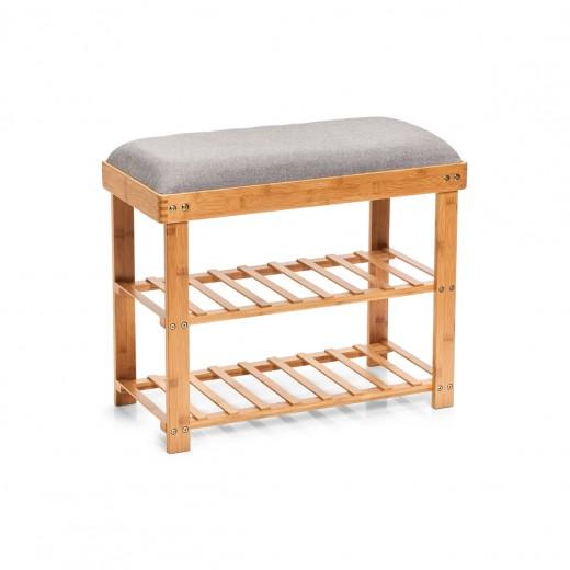 Suport pentru incaltaminte cu sezut tapitat, Grey Bamboo, l60xA29xH50 cm
