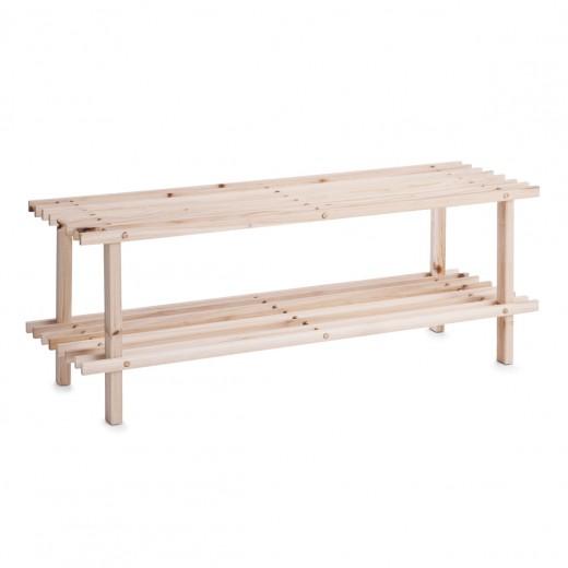 Suport pentru incaltaminte, din lemn, Natural Wood, l80xA26xH29,5 cm