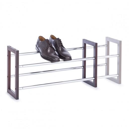 Suport pentru incaltaminte extensibil, Brown Wood Metal, l63/116xA20xH34 cm