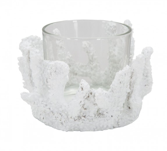 Suport lumanare din sticla si rasina Corallo Alb, Ø12,5xH9 cm