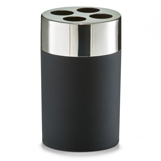 Suport pentru periuta din plastic si inox, Black matte, Ø 6,5xH11 cm