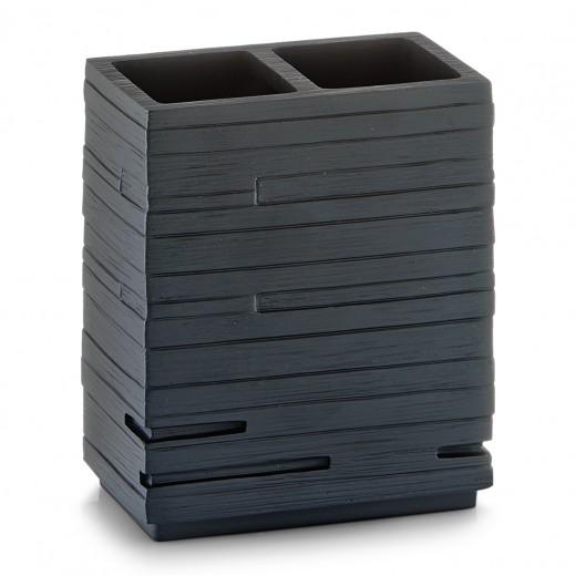 Suport pentru periuta din polirasina, Slate Black, l10,1xA6,3xH11,5 cm