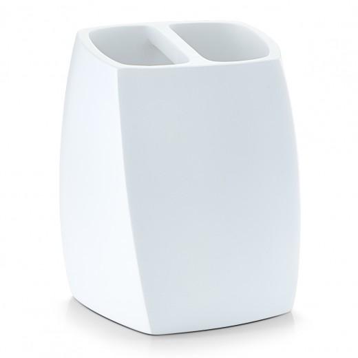 Suport pentru periuta din polirasina, Twisted White, l8xA8xH10,3 cm