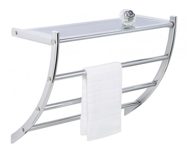 Suport pentru prosoape de baie, cu raft din metal, Pescara Crom, l56xA21,5xH46 cm