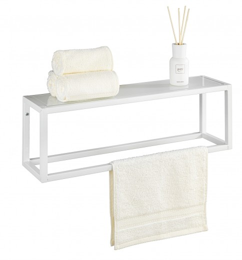 Suport pentru prosoape de baie, cu raft din metal, Salta Alb, l60xA15xH20 cm
