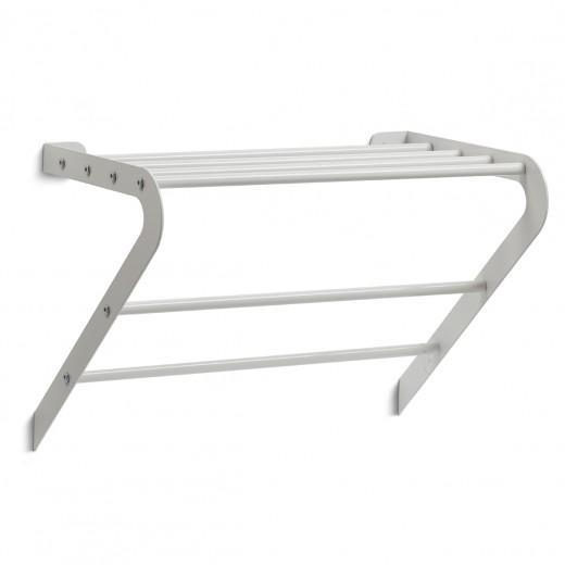 Suport pentru prosoape de baie, cu raft, Wall Metal White, l45xA27,5xH32 cm