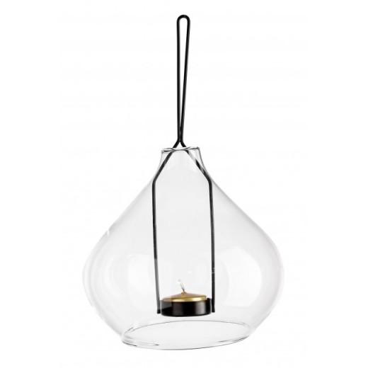 Suport suspendabil pentru lumanare, din sticla si metal Metric 2 Transparent / Negru, Ø15,4xH15 cm