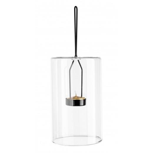 Suport suspendabil pentru lumanare, din sticla si metal Metric 3 Transparent / Negru, Ø10xH16,4 cm