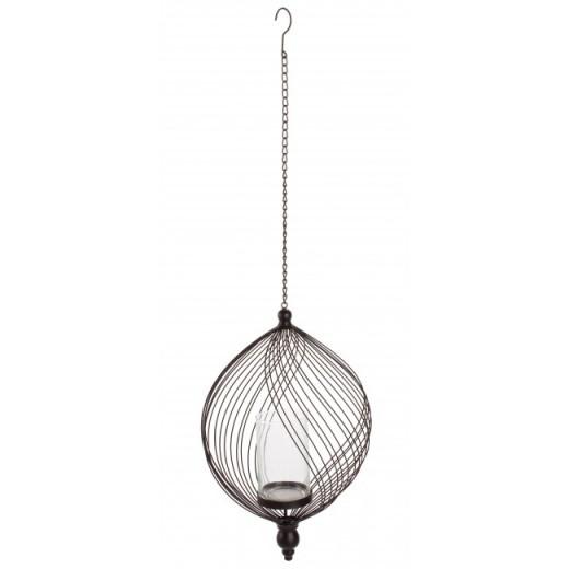 Suport suspendabil pentru lumanare, din sticla si metal Sharm Sphere Transparent / Negru, Ø45xH29 cm