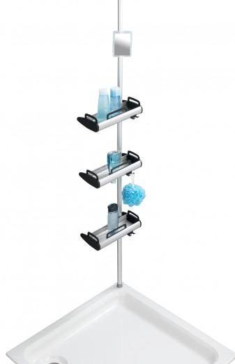 Suport telescopic pentru dus, cu 3 etajere si 1 oglinda, din aluminiu si plastic, Shelf Line Argintiu / Negru, L30xl17xH70-260 cm