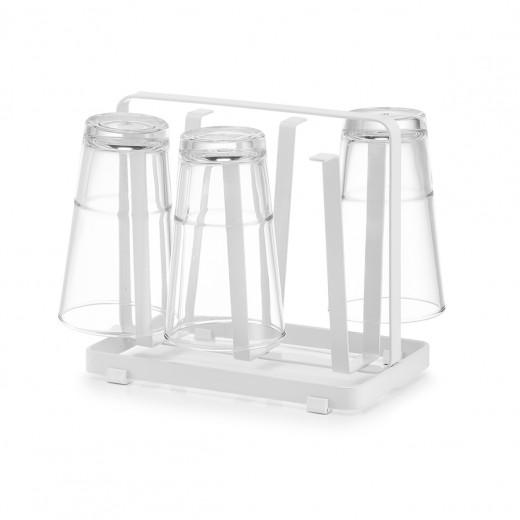 Suport uscator metalic pentru pahare, Drain Alb, L20xl12xH17,5 cm
