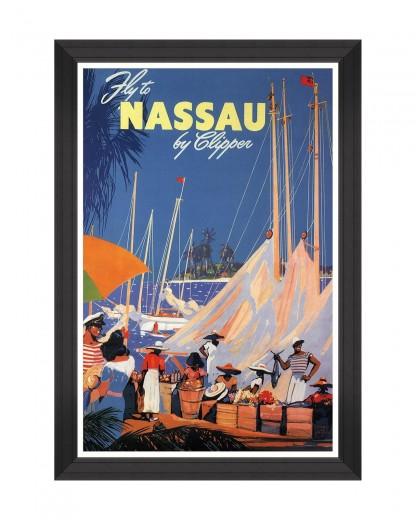Tablou Framed Art Caribbean Travels - Fly To Nassau, 60 x 90 cm