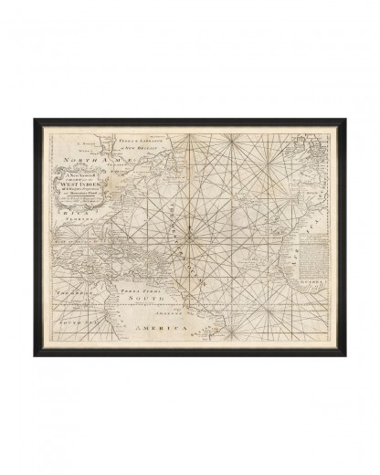 Tablou Framed Art Map of West Indies 1716, 120 x 90 cm