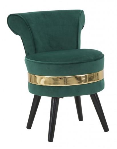 Taburet cu spatar tapitat cu stofa, cu picioare din lemn Paris New Verde inchis, Ø47xH64 cm