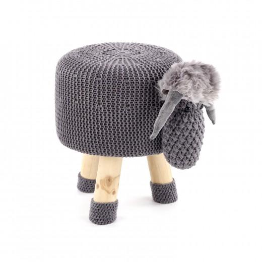 Taburet pentru copii tapitat cu stofa, cu picioare din lemn Dolly 1 Grey, Ø35xH28 cm