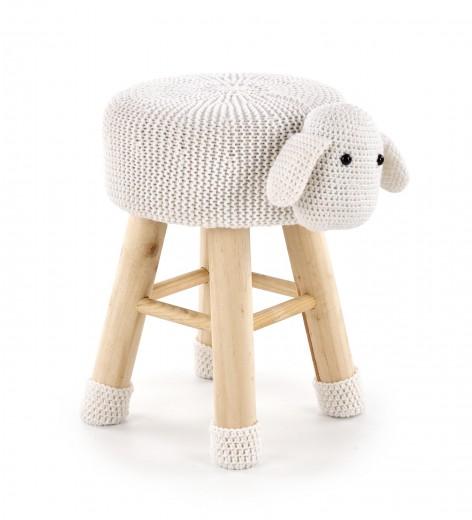 Taburet pentru copii tapitat cu stofa, cu picioare din lemn Dolly 2 Cream, Ø42xH29 cm