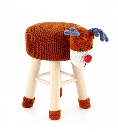 Taburet pentru copii tapitat cu stofa, cu picioare din lemn Dolly 3 Multicolour, Ø42xH29 cm