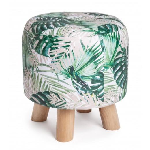 Taburet tapitat cu piele ecologica si picioare din lemn Tropish Multicolor / Natural, Ø30xH32 cm