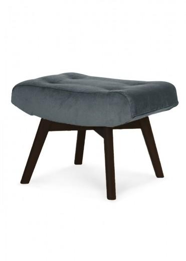 Taburet tapitat cu stofa, cu picioare din lemn Angel Dark Grey / Black, l62xA46xH42 cm