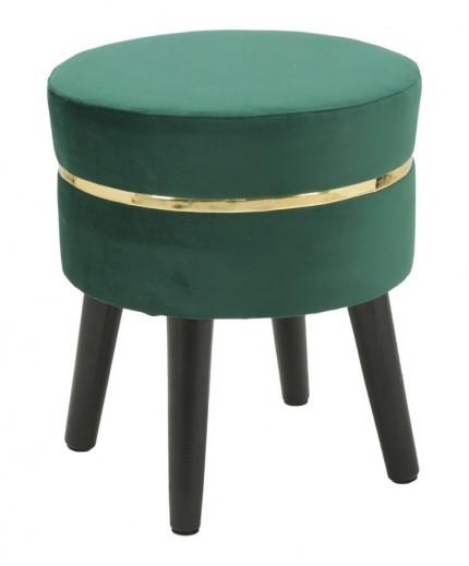 Taburet tapitat cu stofa, cu picioare din lemn Paris Verde inchis, Ø35xH40,5 cm