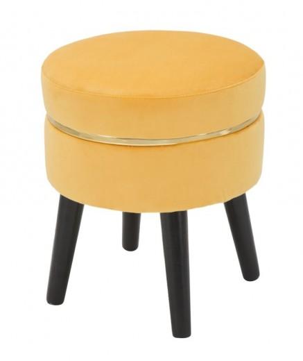 Taburet tapitat cu stofa, cu picioare din lemn Paris Light Orange, Ø35xH40,5 cm