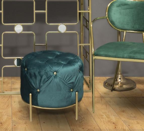 Taburet tapitat cu stofa, cu picioare metalice Diamond Verde / Auriu, Ø45xH40 cm