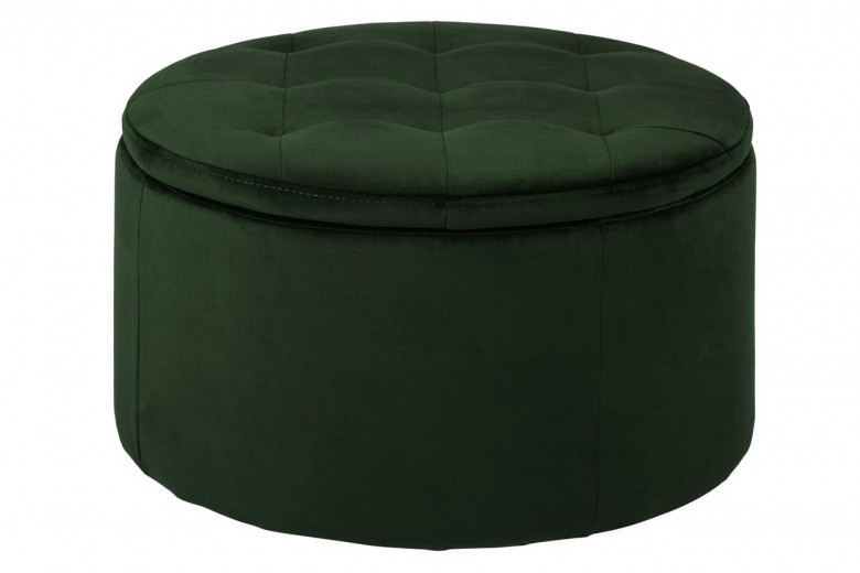 Taburet tapitat cu stofa, cu spatiu de depozitare Retina Velvet Verde Inchis, Ø60xH35 cm