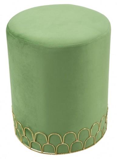 Taburet tapitat cu stofa Ring Verde deschis, Ø35xH42 cm