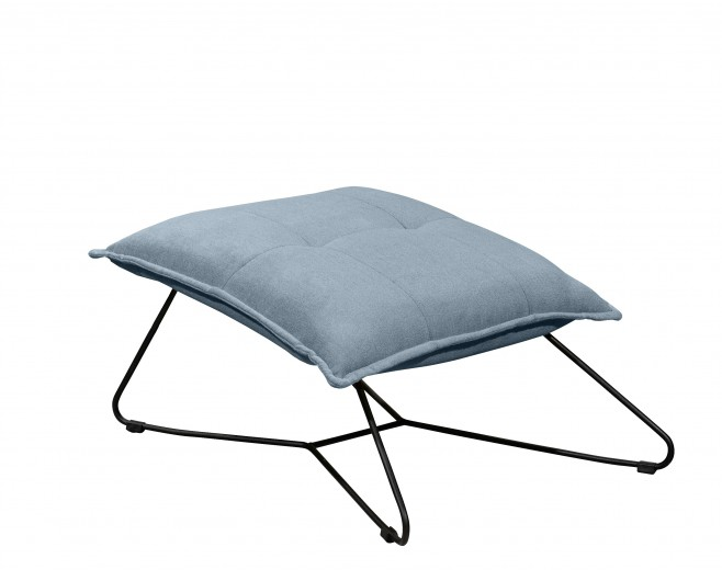 Taburet tapitat cu stofa si picioare metalice, Victorio Albastru, l69xA80xH42 cm
