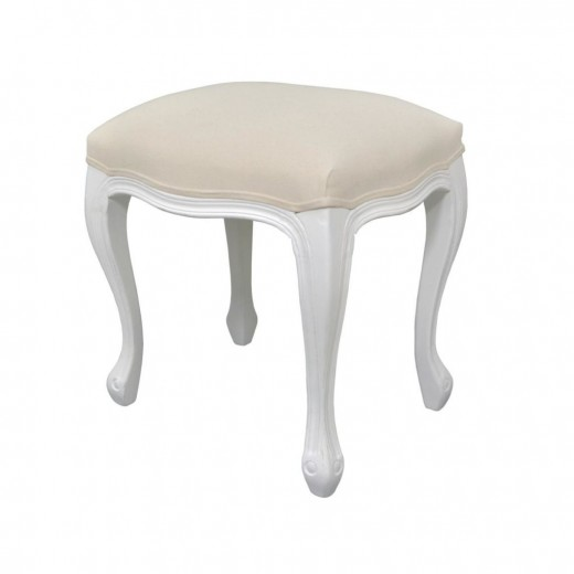 Taburet tapitat cu stofa, cu picioare din lemn de plop Upholstered TA325 White, l45xA35xH49 cm