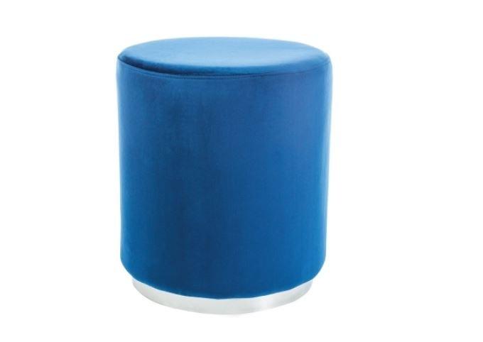Taburet tapitat cu stofa Furla Silver Blue, Ø 42xH48 cm