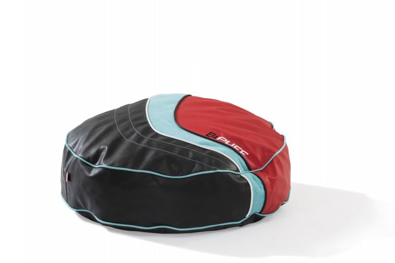 Taburet pentru copii, tapitat cu piele ecologica Biconcept Red / Black, l82xA82xH20 cm