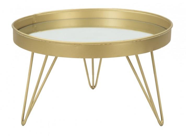 Tava decorativa din metal si sticla Glam Small Auriu, Ø31xH18 cm