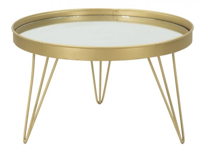 Tava decorativa din metal si sticla Glam Auriu, Ø36,5xH22 cm