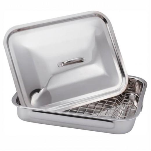 Tava pentru cuptor cu grill si capac din otel inoxidabil, L37xl27,5xH6 cm, Stainless Collection Crom